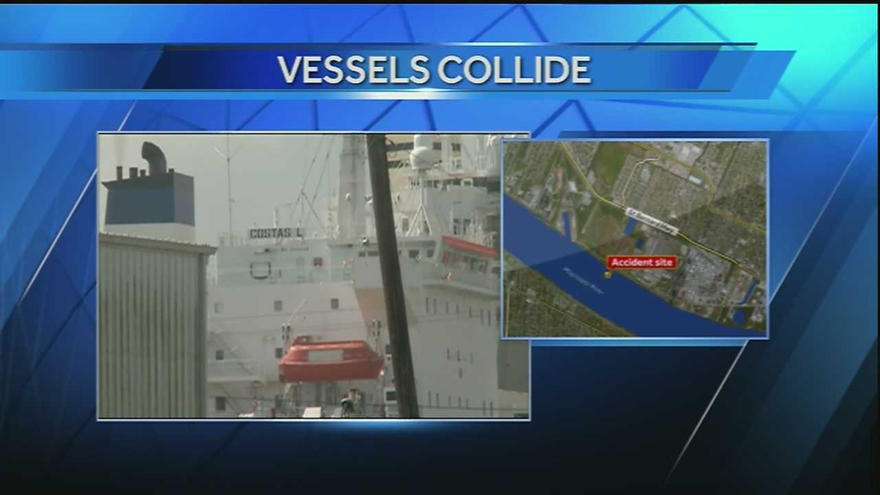 Two vessels collided on the Mississippi River on Friday morning.
