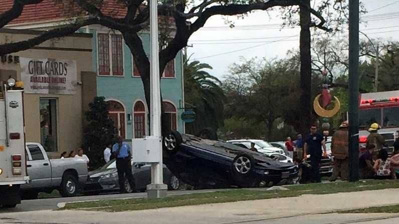 Three cars were involved in a crash in Mid-City, New Orleans police said.