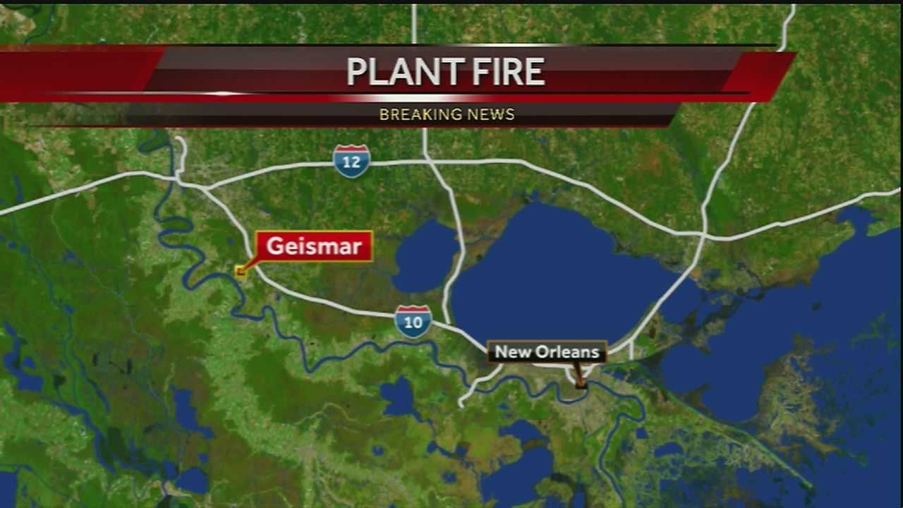 Two people were injured in a plant fire in Geismar Thursday night, officials said.