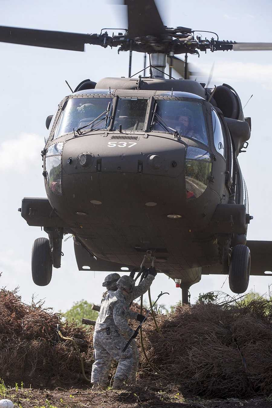 The Louisiana National Guard's 1st Assault Helicopter Battalion, 244th Aviation Regiment, the U.S. Fish and Wildlife Service and New Orleans officials participated in the annual Christmas Tree Drop in Bayou Sauvage in eastern New Orleans on Thursday.