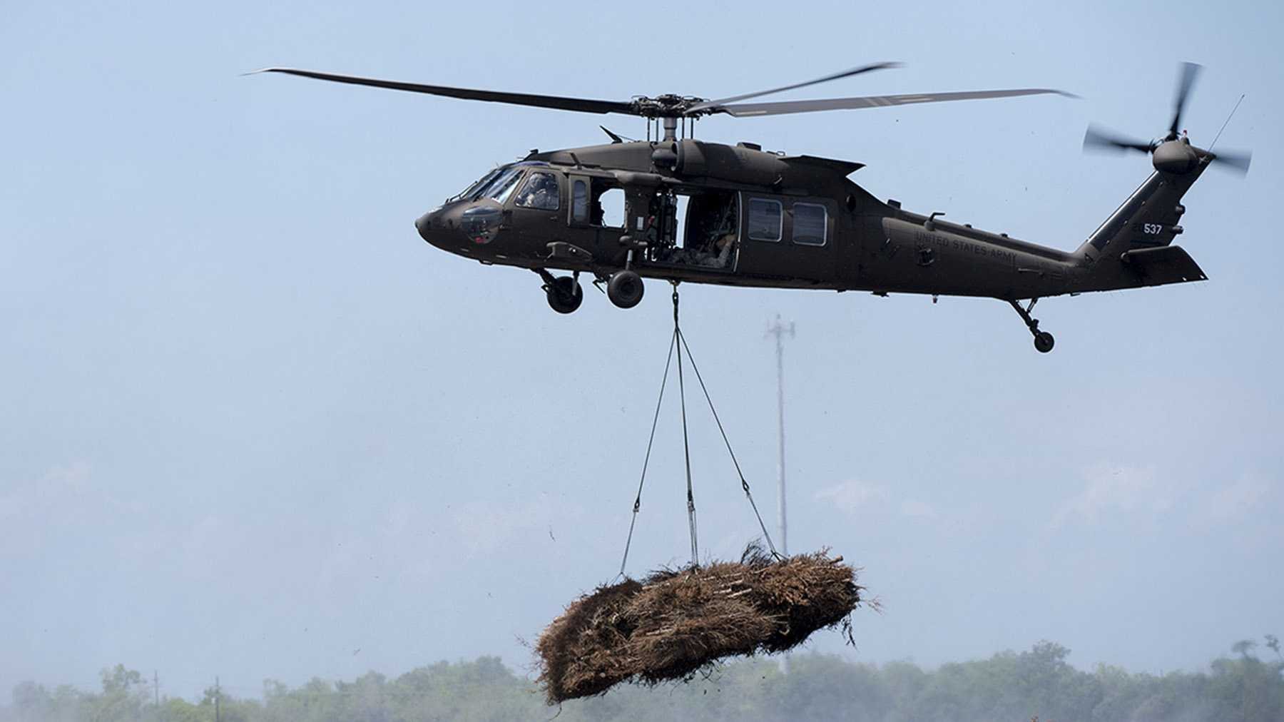 Members of the Louisiana National Guard's 1st Assault Helicopter Battalion, 244th Aviation Regiment partnered with the U.S. Fish and Wildlife Service on Thursday for the Christmas Tree Drop.