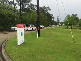 Authorities with the St. Tammany Parish Sheriff's Office investigate reports of a shooting near the Lakeview Regional Medical Center in Covington.