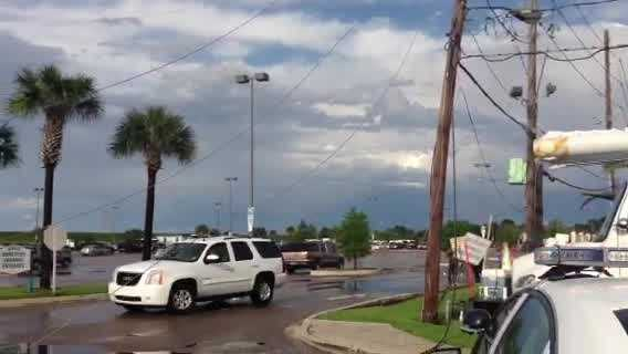 After severe weather pushed through southeast Louisiana, downed power lines were reported in Kenner and police were redirecting traffic.