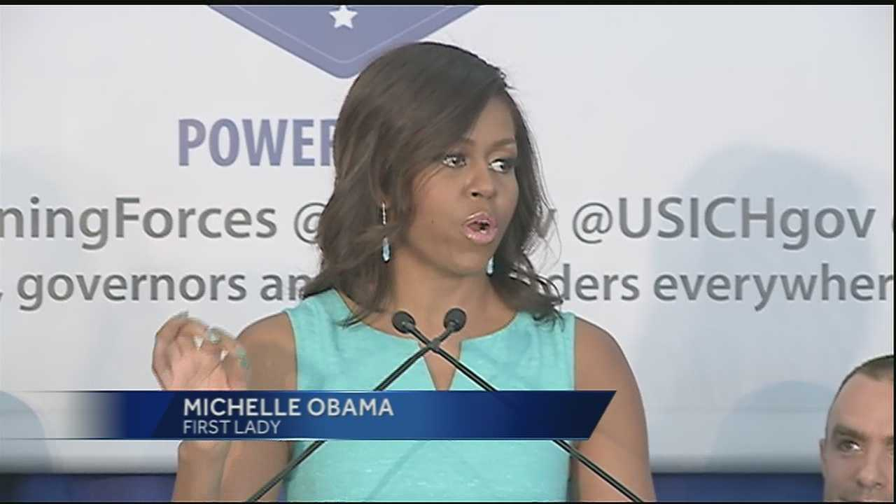 First Lady Michelle Obama visited New Orleans to recognize the city's efforts to find housing for homeless veterans.
