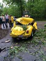 VW Beetle crushed during the storm.