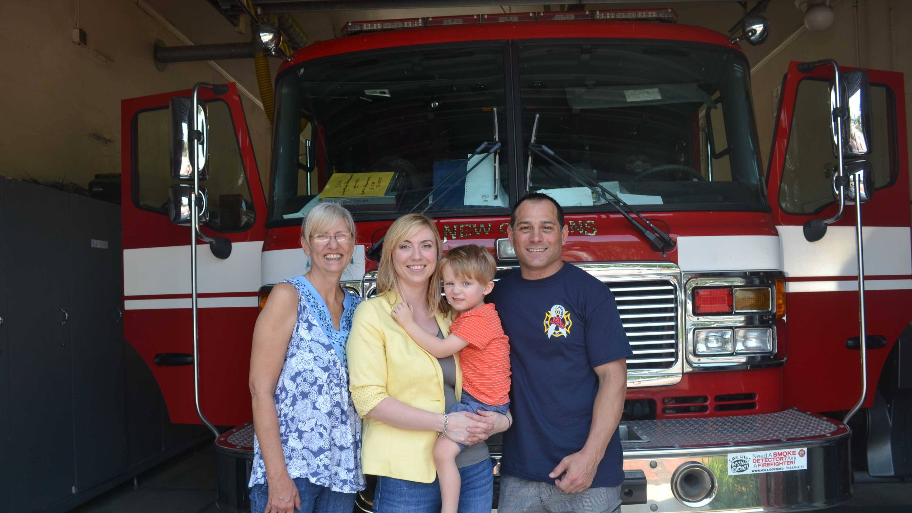 A blood drive is being held Saturday to help a 3-year-old boy with a rare form of brain cancer.Pictured: Missy Lucus (Dom's grandmother), Lacy Majorie (mother), Dominic Majorie (3years old) and organizer Gino Ascani, a New Orleans firefighter.