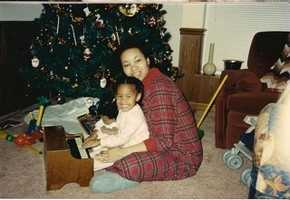 Adrianna Hopkins, about 3 years old, with her mom.
