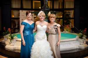 Randi Rousseau pictured on her wedding day with her mother-in-law and mother.
