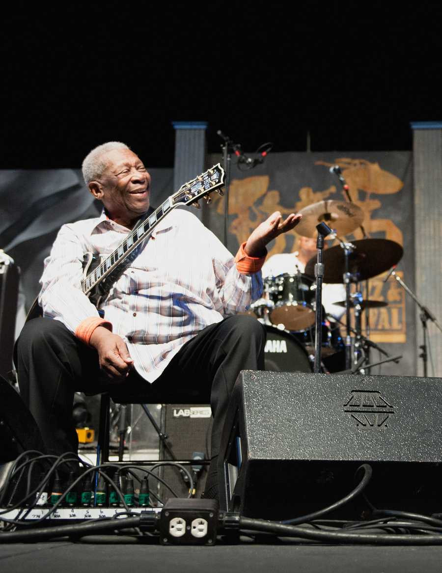 Riley B. King, the legendary guitarist known as B.B. King, whose velvety voice and economical, expressive style brought blues from the margins to the mainstream, died Thursday night. New Orleans Jazz and Heritage officials shared photos of the blues guitarist performing.