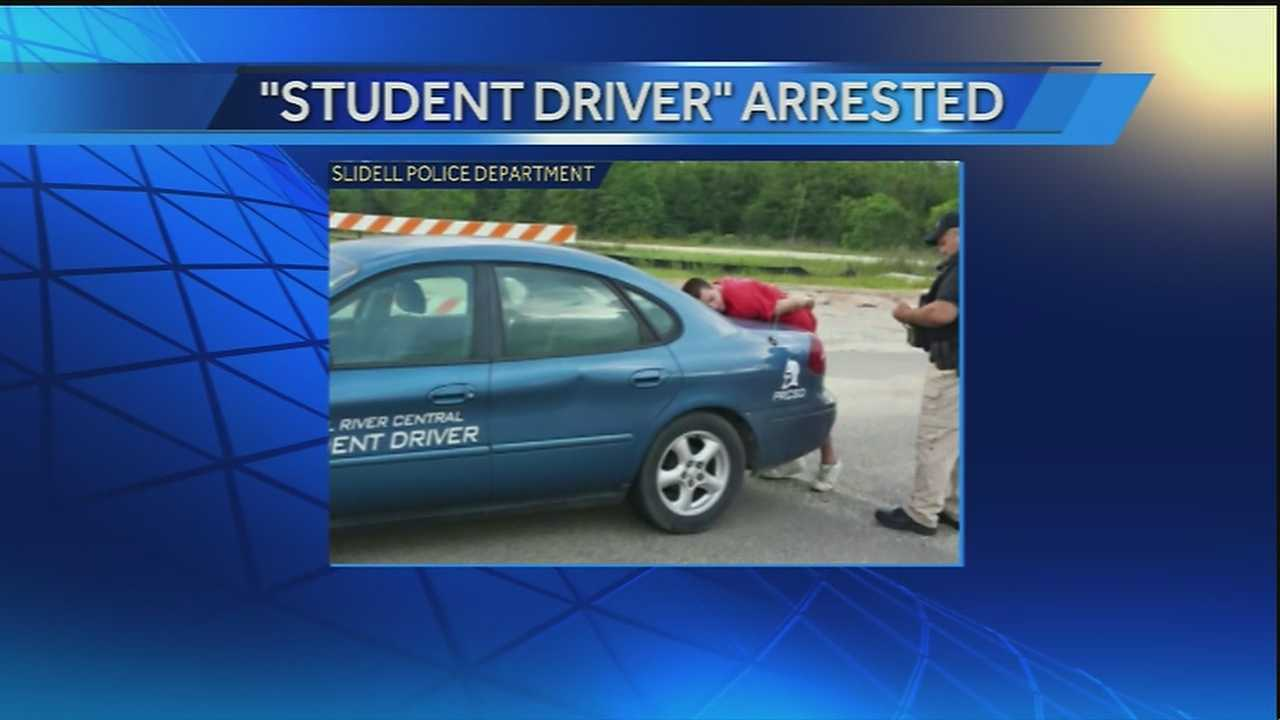 "An off-duty Slidell police officer helped apprehend a man driving a stolen vehicle labeled ""student driver"" Sunday morning in Bay St. Louis, Mississippi."