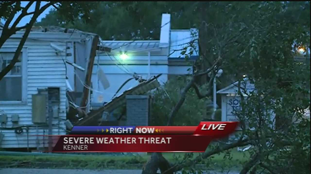 As severe weather pushed through southeast Louisiana early Tuesday morning, damage was being reported in Kenner.
