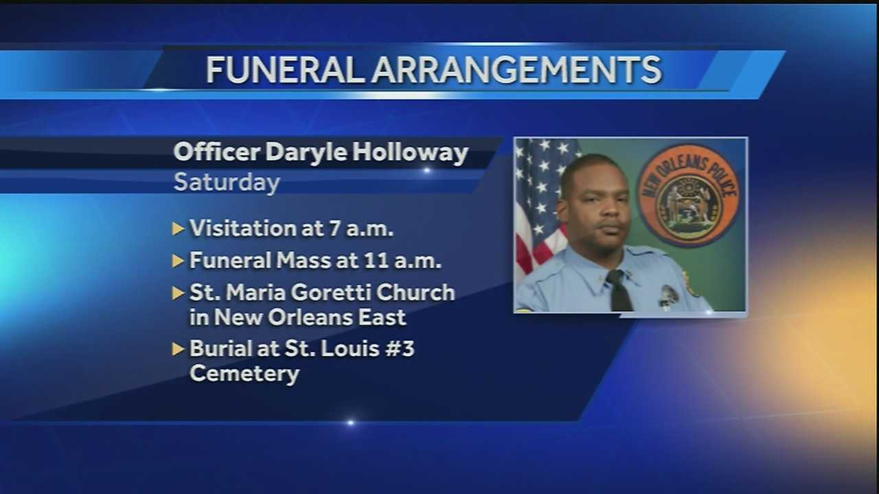 New Orleans officials have released plans for a public visitation and a memorial Mass for slain police officer Daryle Holloway.