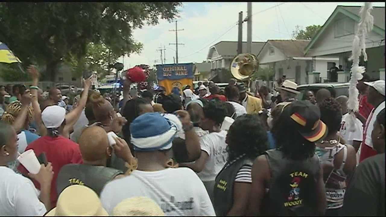 A community gathering today celebrated the life of fallen officer Daryle Holloway with a second line in the upper Ninth Ward.