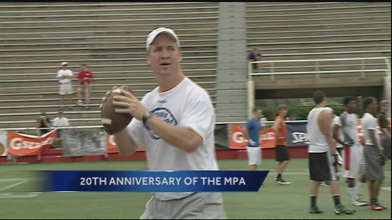 The 20th Annual Manning Passing Academy kicked off Friday in Thibodaux, Louisiana, at Nicholls State University. The camp is headed by current NFL quarterbacks Peyton and Eli Manning, their brother Cooper, and New Orleans Saints legend Archie Manning.
