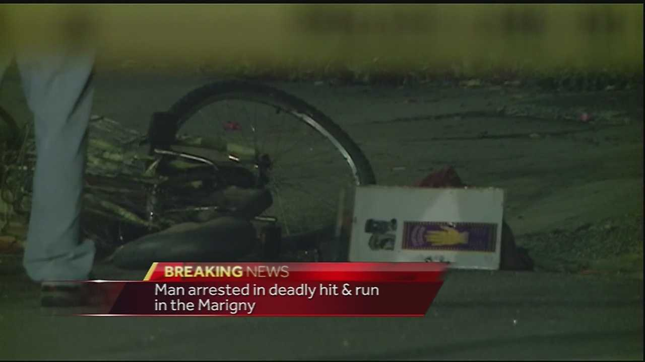 A man was arrested in the fatal hit-and-run of a bicyclist in New Orleans.