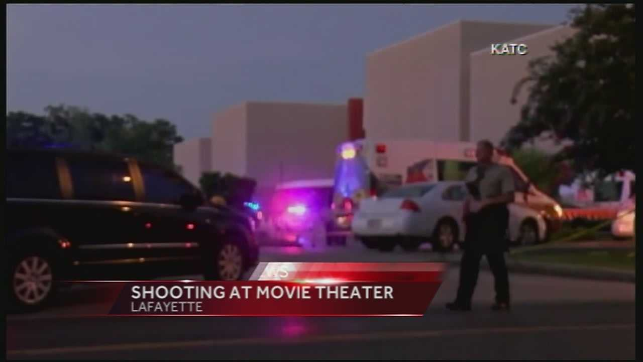 Officials report six people injured and the gunman dead following a shooting at a movie theater in Lafayette Thursday evening.