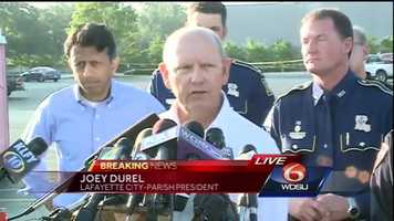 The mayor of Lafayette speaks to the media Friday morning.
