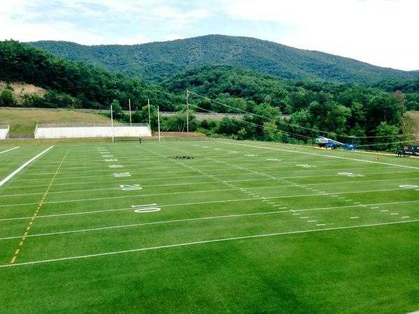 The practice field at Greenbrier before the team arrives.