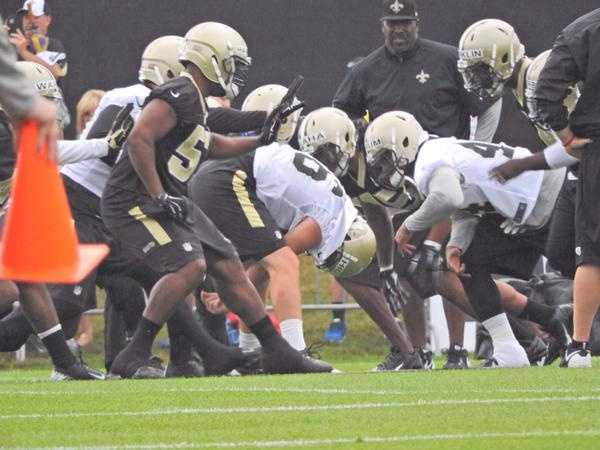 Saints 2nd team offense and defense before a play.