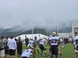 Saints offensive line during a team walkthrough.
