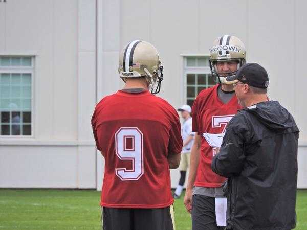 Quarterback Drew Brees and Luke McCown talking about the offense.