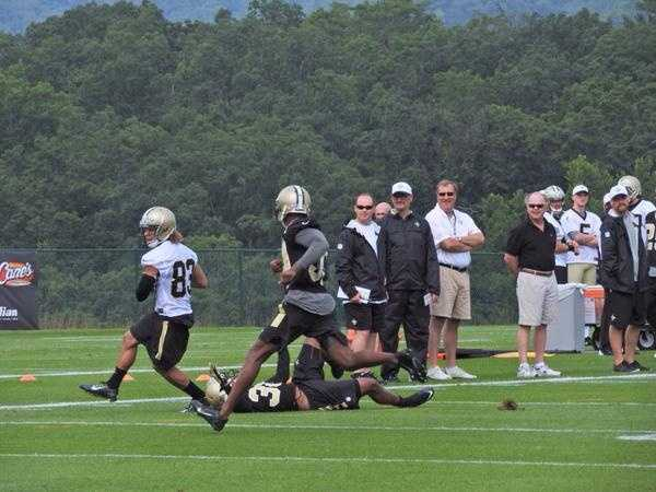Receiver Willie Snead during one on one drills.