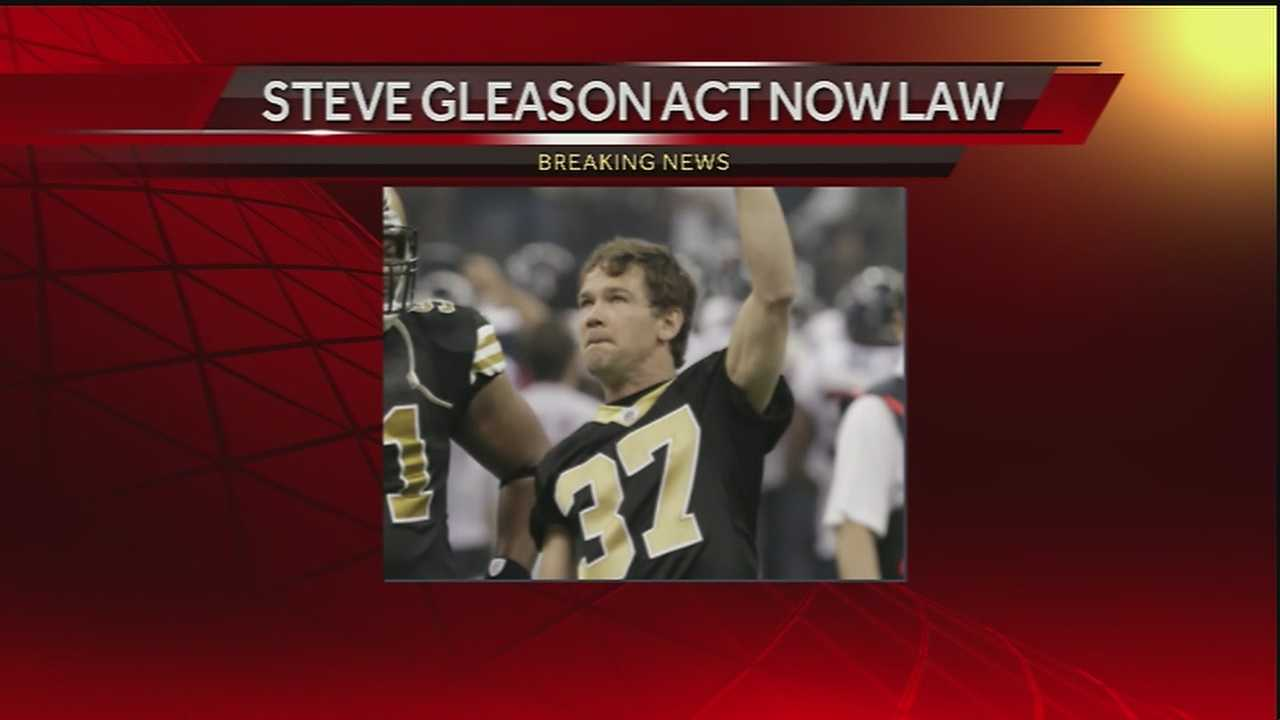 The Steve Gleason Act was officially signed into law Thursday evening.