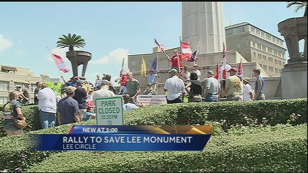 Gen. Robert E. Lee defended the Confederacy and on Saturday dozens turned up to defend him at his monument in Lee Circle.