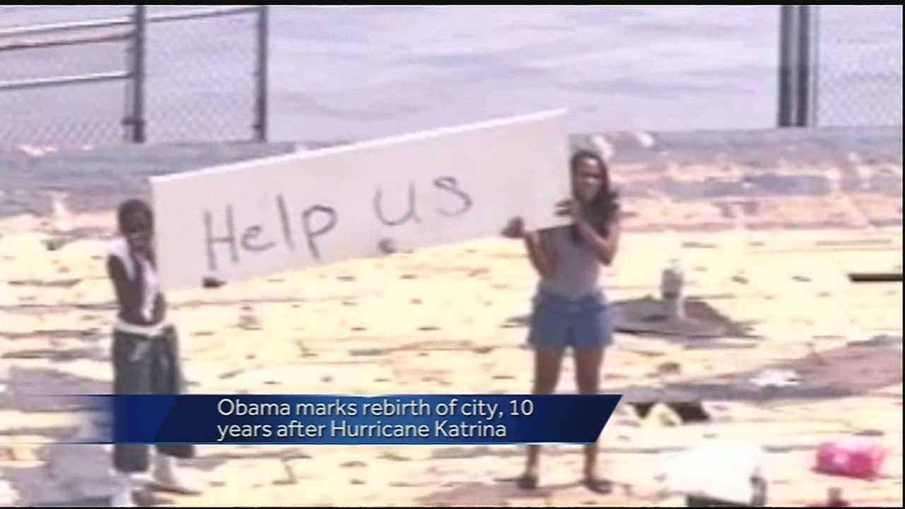 President Barack Obama is visiting New Orleans to mark the 10th Anniversary of Hurricane Katrina.