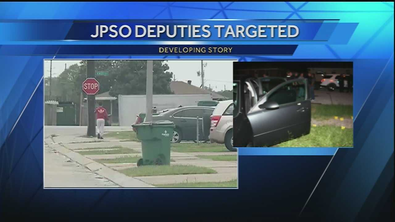 Three deputies were shot at Tuesday evening while on patrol in an area of Marrero, the Jefferson Parish Sheriff's Office said.