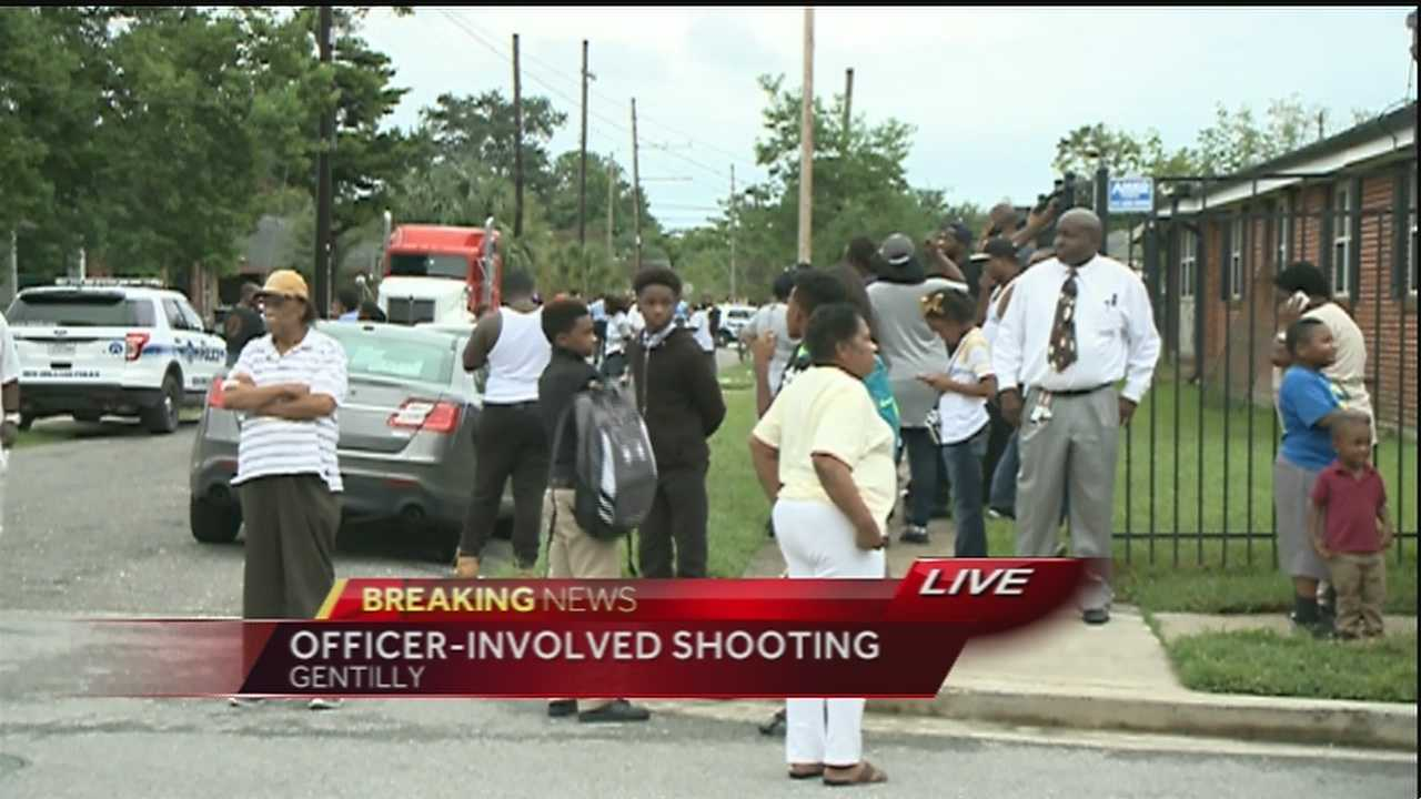 The NOPD said the suspects opened fire on the officer and fled the area. The officer was injured in the shoulder by the glass that broke from his patrol vehicle.