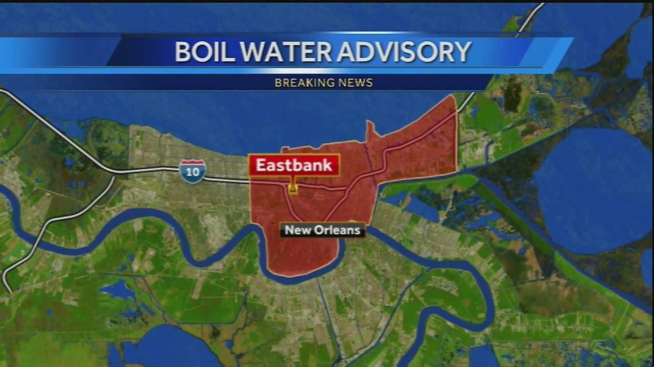 A boil-water advisory has been issued for the east bank of Orleans Parish, the Sewerage and Water Board of New Orleans said.
