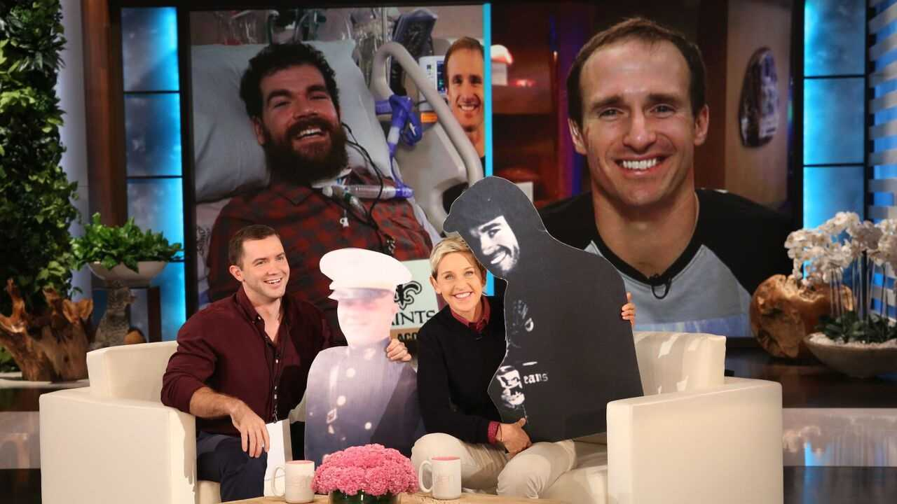 "New Orleans Saints Quarterback Drew Brees appears on ""Ellen"" with an inspiring gift to two best friends and a major announcement for the ""Who Dat Nation."""