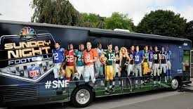 The Sunday Night Football bus is making appearances this weekend in New Orleans ahead of the Saints' showdown with the Dallas Cowboys.