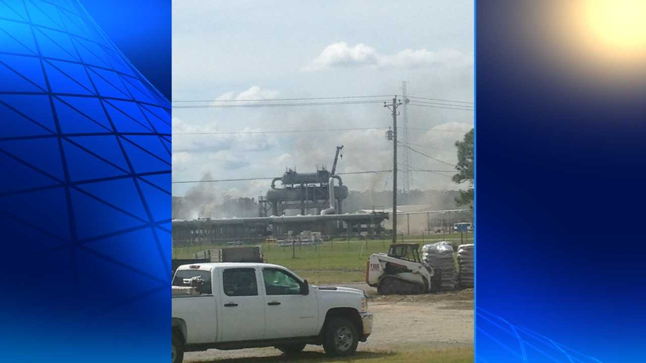 The scene of an explosion at a pipeline facility in Gibson, Louisiana.