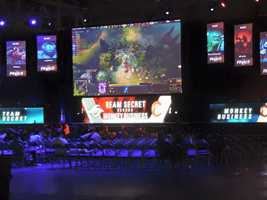 Team Secret vs Team Monkey Business face off against each other in Dota 2 at the MLG World Finals in New Orleans.