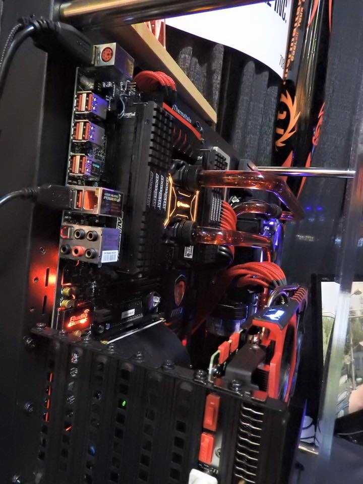 At home, teams can practice on computers designed specifically for gaming. This computer displays a high-end graphics card and liquid cooling system for its processor. Temperatures can climb very high when playing games on a computer. This liquid cooling system keeps temperatures about 32 degrees Celsius.