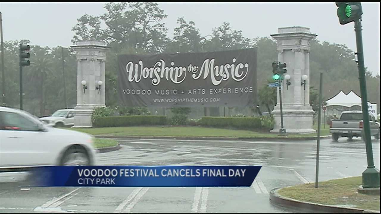 After a weekend of rain, Voodoo music festival organizers cancelled the event's final day Sunday.