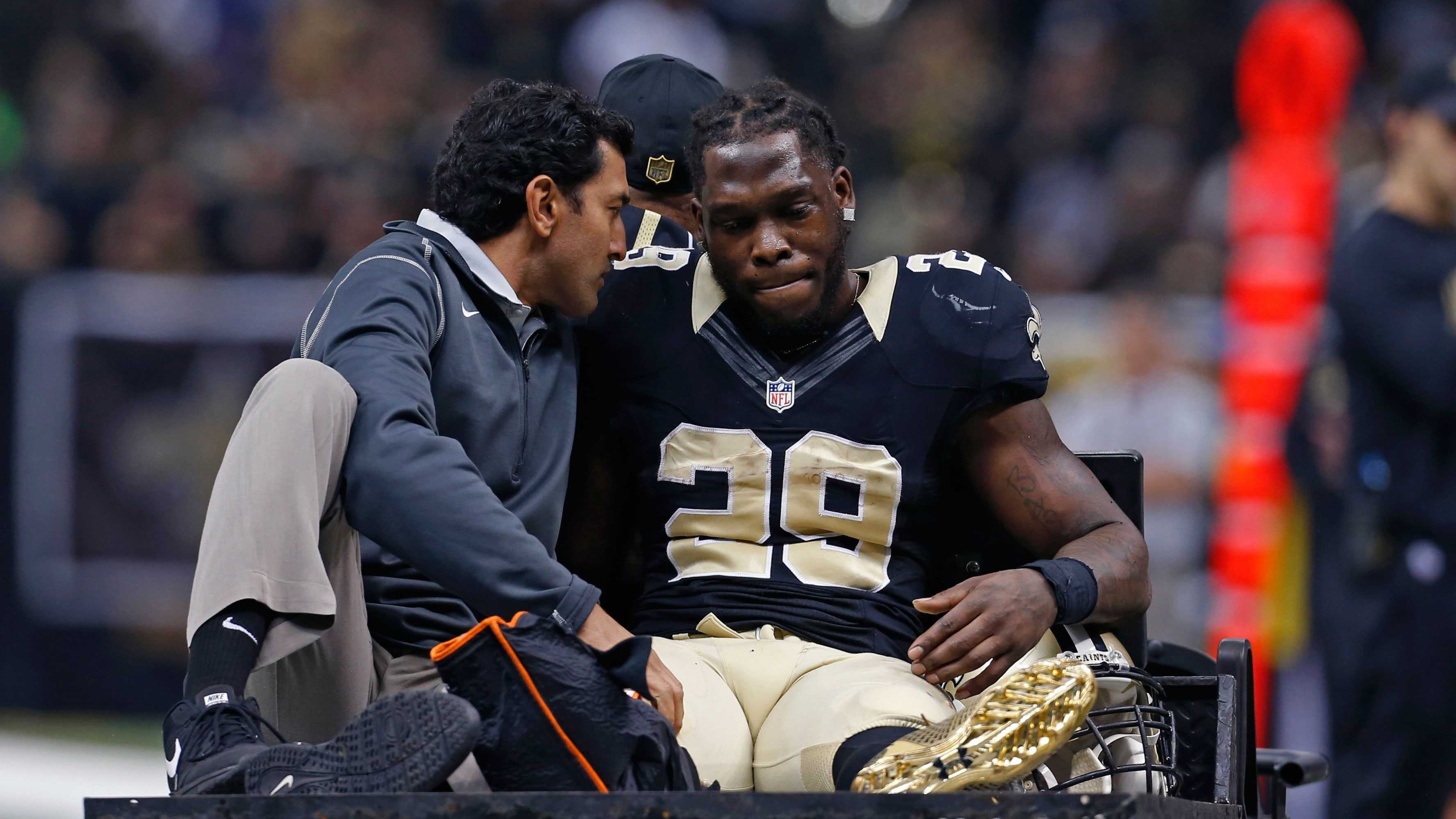 New Orleans Saints running back Khiry Robinson (29) is carted off the field after being injured in the first half of an NFL football game against the New York Giants in New Orleans, Sunday, Nov. 1, 2015.