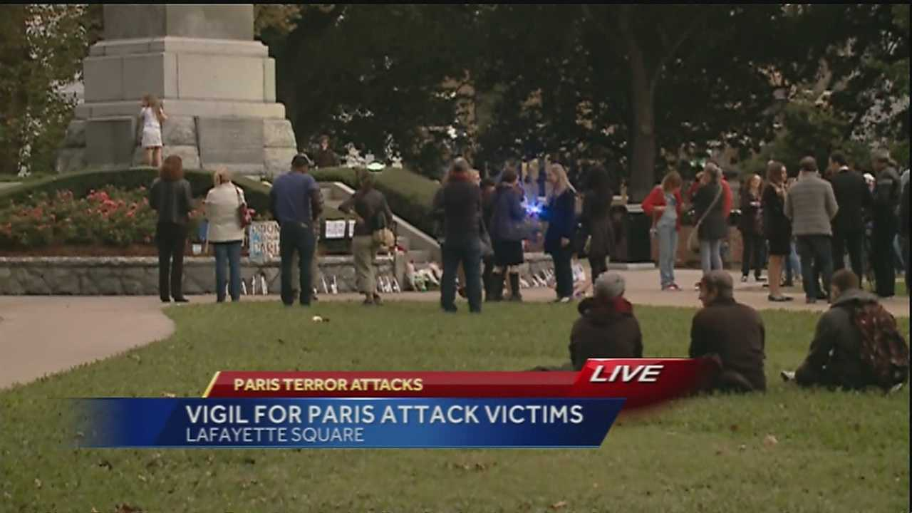 Mayor Mitch Landrieu joined the consul general of France in Lafayette Square Sunday afternoon to honor the victims of the attacks in Paris.
