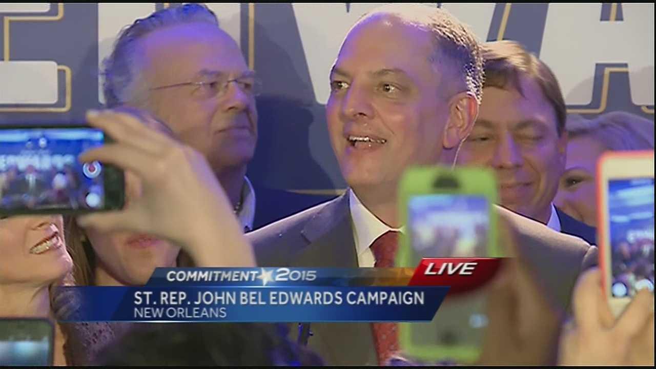 Governor-elect John Bel Edwards gives victory speech