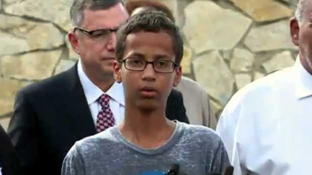 "On Sept. 17, Ahmed explained why he brought his invention to school. ""I built the clock to impress my teacher, but when I showed it to her, she thought it was a threat to her. So, it was really sad that she took the wrong impression of it,"" the teen told reporters at a news conference in front of his home."