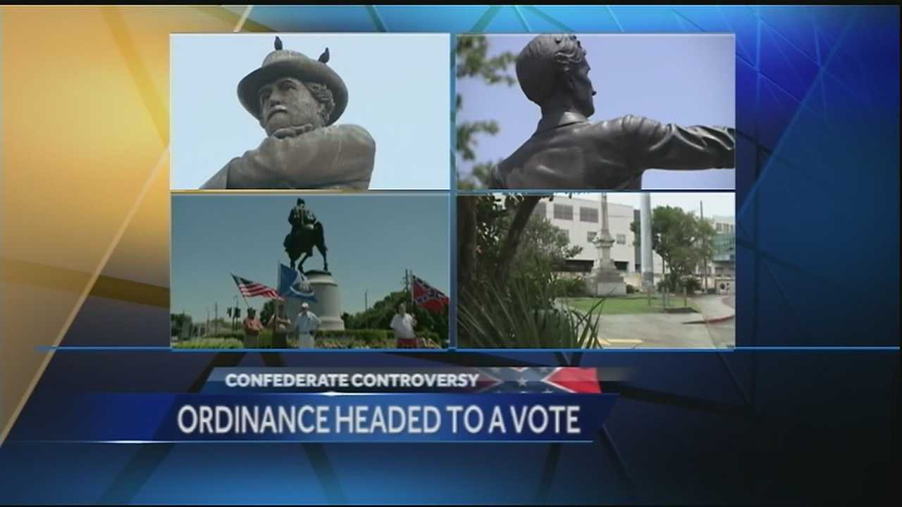 An ordinance declaring four long-standing monuments 'nuisances' was read before the New Orleans City Council Tuesday, clearing the way for a final decision regarding the fate of the statues later this month.