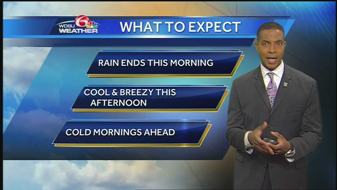 The rain should end this morning. Expect partly to mostly cloudy, cool and breezy conditions today with afternoon temperatures in the mid 60s.