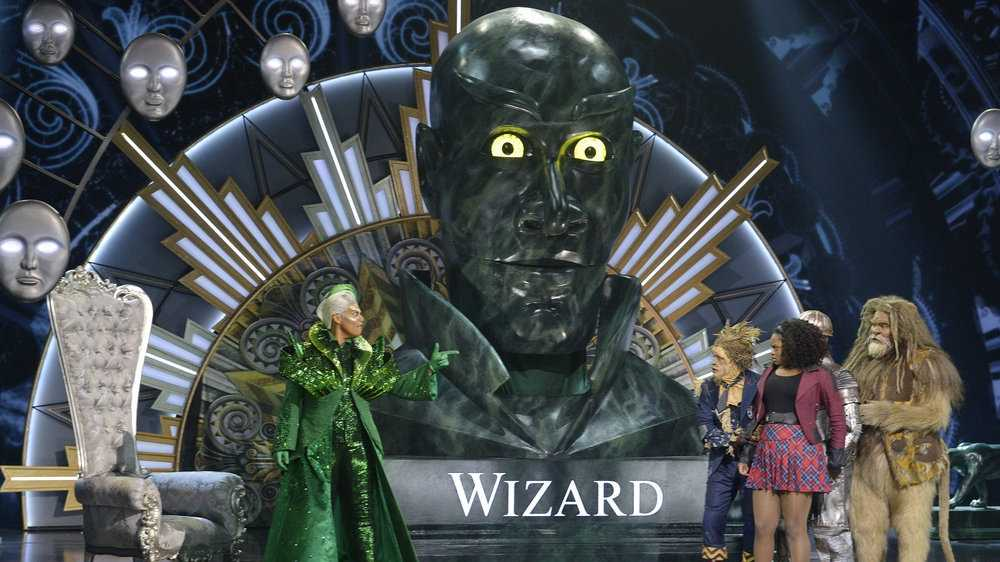 THE WIZ LIVE! -- Pictured: (l-r) Queen Latifah as The Wiz, Elijah Kelley as Scarecrow, Shanice Williams as Dorothy, David Alan Grier as Lion -- (Photo by: Virginia Sherwood/NBC)