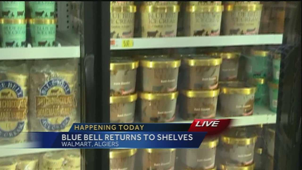 Grocery stores began stocking up on Blue Bell ice cream on Monday morning.