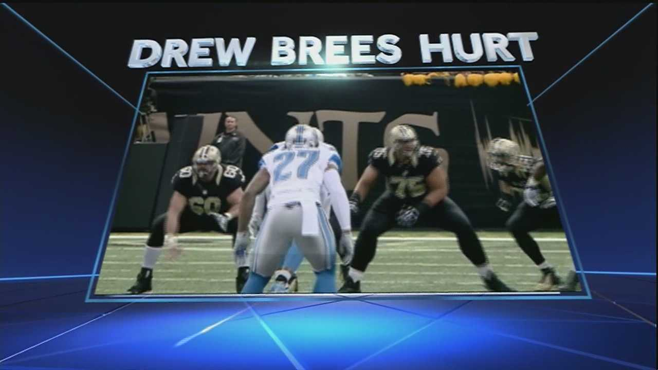 Drew Brees injured his foot in the game. The Lions beat the Saints 27-35.