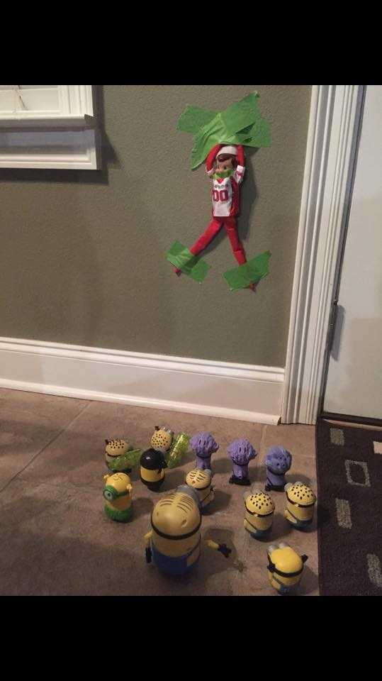 "Janell Musacchia Sisolak: ""My grand kid's Elf on the shelf JJ was held hostage by the Minions."""