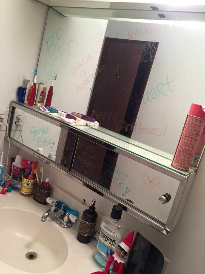 "Jesyka Lynn: ""Stuart tagged the mirror in the bathroom."""