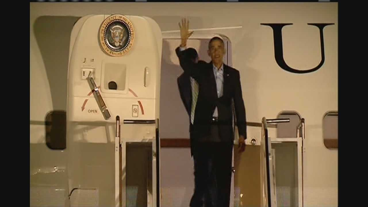 President Barack Obama landed in Baton Rouge on Wednesday night.